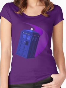 The TARDIS, Anywhere, Anytime TRAVEL POSTER Women's Fitted Scoop T-Shirt