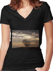 Serenity At Sunset   Women's Fitted V-Neck T-Shirt