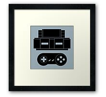 Let's Play SNES (Black) Framed Print
