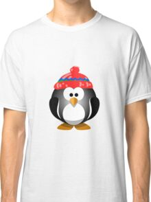 Adorable Penguin Wearing a Knitted Hat Classic T-Shirt