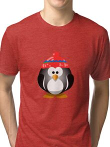 Adorable Penguin Wearing a Knitted Hat Tri-blend T-Shirt