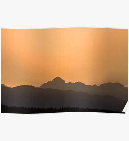 Sunset behind the Julian Alps Poster