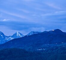 Krvavec and the Kamnik Alps at dusk by Ian Middleton
