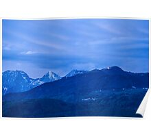 Krvavec and the Kamnik Alps at dusk Poster