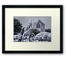 Snowy Church Scene Framed Print