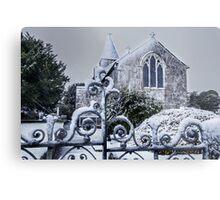 Snowy Church Scene Metal Print