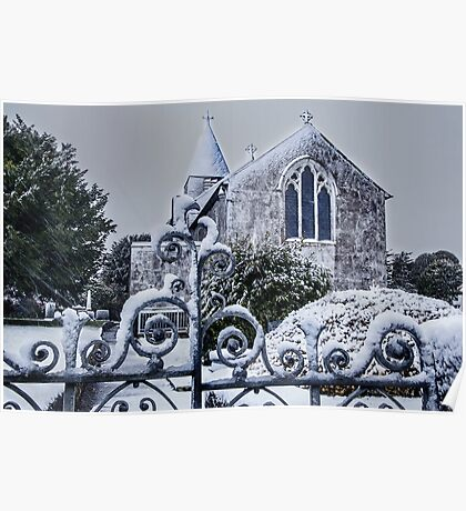 Snowy Church Scene Poster