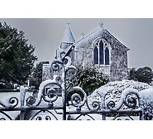 Snowy Church Scene Photographic Print