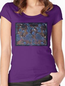 marbled paper - blue mushroom 2 layer Women's Fitted Scoop T-Shirt