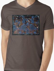 marbled paper - blue mushroom 2 layer Mens V-Neck T-Shirt