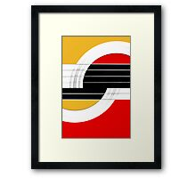 Geometric Guitar Abstract II in Orange Red Black White Framed Print