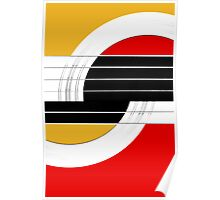 Geometric Guitar Abstract II in Orange Red Black White Poster