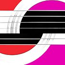 Geometric Guitar Abstract II in Red Pink Black White by Natalie Kinnear