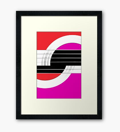 Geometric Guitar Abstract II in Red Pink Black White Framed Print