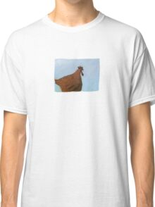 Painting of a rusty red chicken on blue Classic T-Shirt
