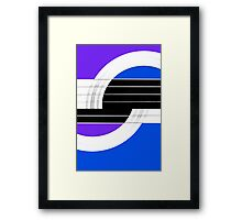 Geometric Guitar Abstract II in Purple Blue Black White Framed Print