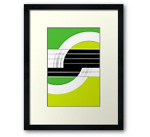 Geometric Guitar Abstract II in Green and Lime Green Framed Print