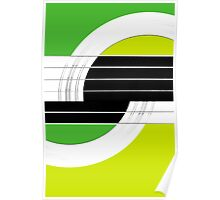 Geometric Guitar Abstract II in Green and Lime Green Poster
