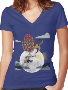 Flying Bicycle Women's Fitted V-Neck T-Shirt
