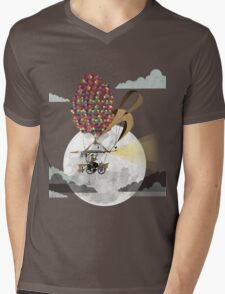 Flying Bicycle Mens V-Neck T-Shirt
