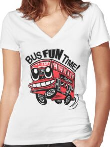 Bus Fun Time Women's Fitted V-Neck T-Shirt