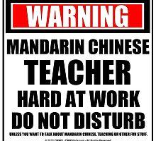 Warning Mandarin Chinese Teacher Hard At Work Do Not Disturb by cmmei