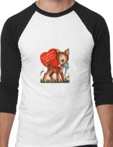vintage cute little deer dear valentine campy tee  Men's Baseball ¾ T-Shirt