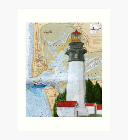 Grays Harbor WA Lighthouse USCG Plane Cathy Peek Art Print