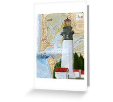 Grays Harbor WA Lighthouse USCG Plane Cathy Peek Greeting Card