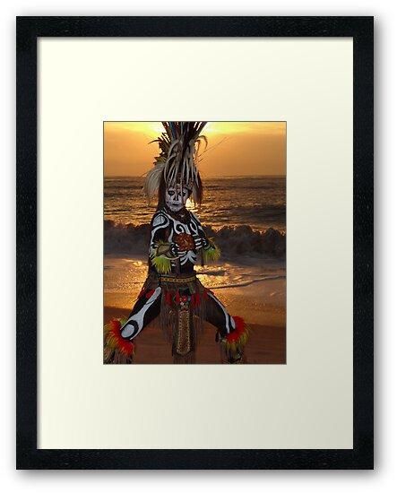 Aztec Worrior Dancing - Guerrero Azteca Bailando by Bernhard Matejka
