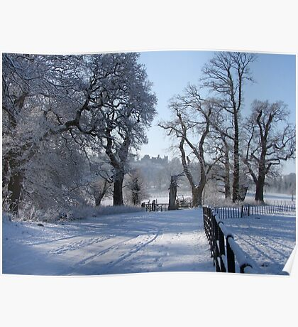 Dinefwr Castle in snow-01 Poster