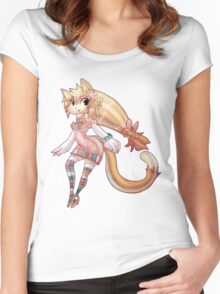 Pretty Blond Cat Girl Women's Fitted Scoop T-Shirt