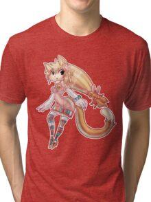 Pretty Blond Cat Girl Tri-blend T-Shirt