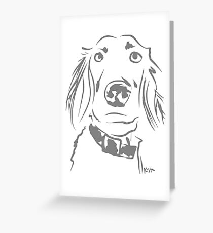 WWWD? Willow, Long Haired Weimaraner : Light Grey Greeting Card