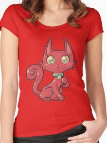 Pretty Red Kitty Cat Women's Fitted Scoop T-Shirt
