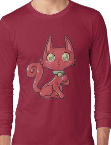 Pretty Red Kitty Cat Long Sleeve T-Shirt