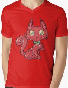 Pretty Red Kitty Cat Mens V-Neck T-Shirt