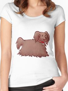 Fluffy Brown Puppy Dog Women's Fitted Scoop T-Shirt