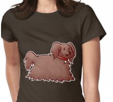 Fluffy Brown Puppy Dog Womens Fitted T-Shirt