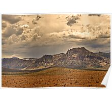 Desert Landscape with Cloudy Sky Poster