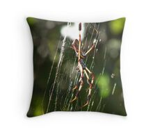 Golden Orbweaver Throw Pillow