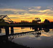 Freeport Bridge at Sunset by Barbara  Brown