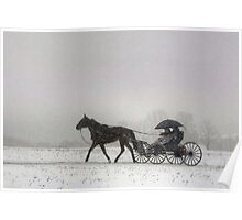 Romantic Buggy Ride In The Snow Poster