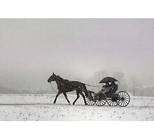 Romantic Buggy Ride In The Snow Photographic Print