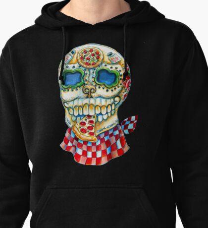 Pizza Sugar Skull Pullover Hoodie