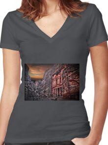 Jordan, Petra, The facade of the Treasury (El Khazneh) Women's Fitted V-Neck T-Shirt