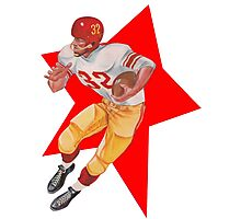 Retro Football Player   Photographic Print