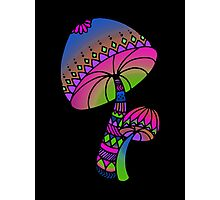 Shrooms - pink/blue/green/purple Photographic Print