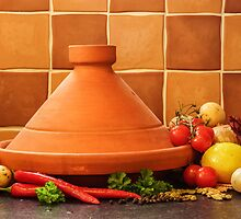 Tagine With Vegetables Seeds Fruits And Spices by Roger Hall