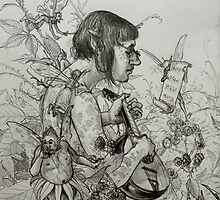 elf studying music of the spores by frey  micklethwait